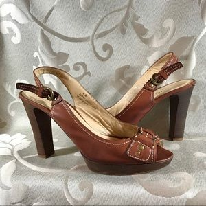 Brown Leather Slingback